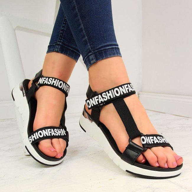 Sandały skórzane damskie na platformie czarne Filippo