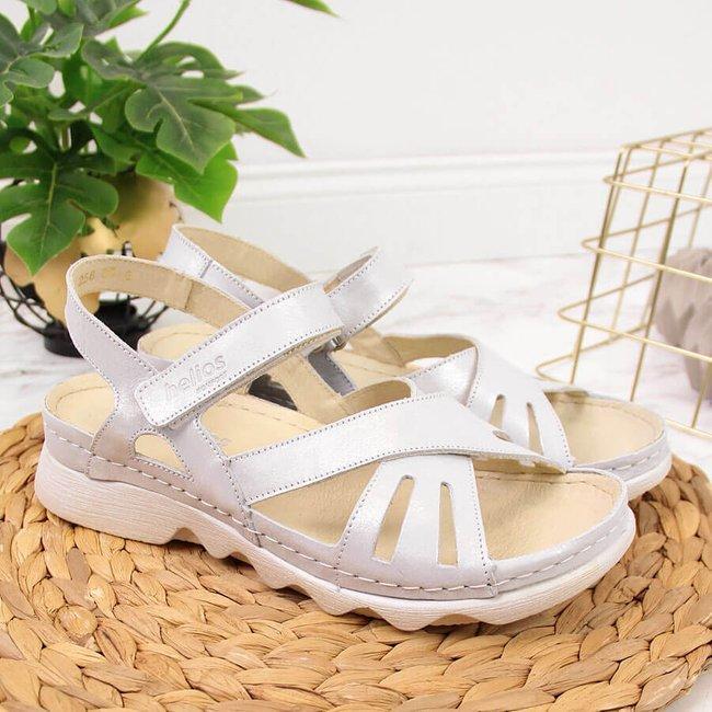 Sandały skórzane damskie na rzep srebrne Helios 256