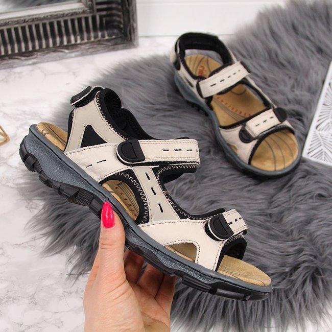 Sandały skórzane damskie sportowe beżowe Rieker 68872