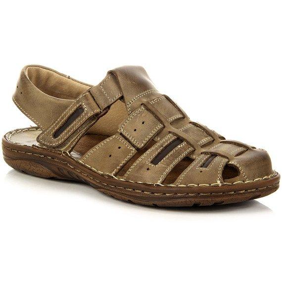 Skórzane brązowe sandały lekkie komfortowe Rafado 199
