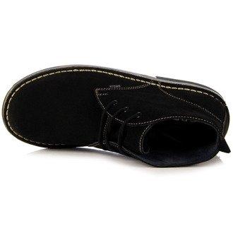 Skórzane czarne botki męskie Gregor