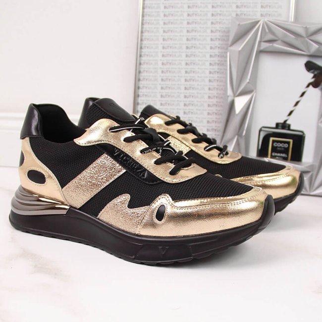 Sneakersy damskie czarno-złote Vinceza
