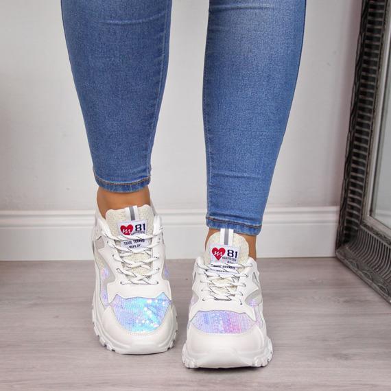 Sneakersy damskie holograficzne białe Lu Boo