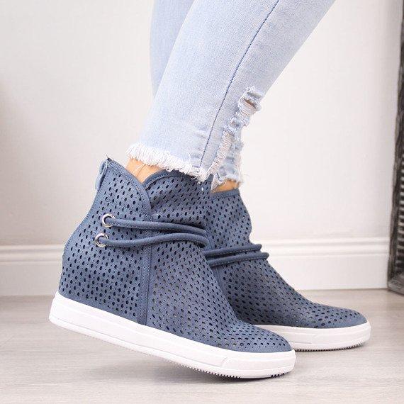 Sneakersy damskie na koturnie ażurowe niebieskie Jezzi