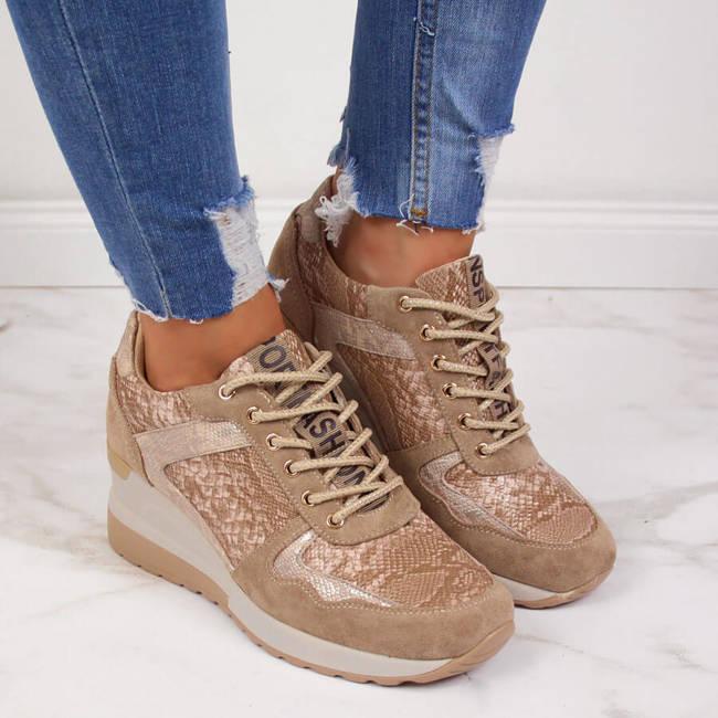 Sneakersy damskie na koturnie beżowe Vinceza