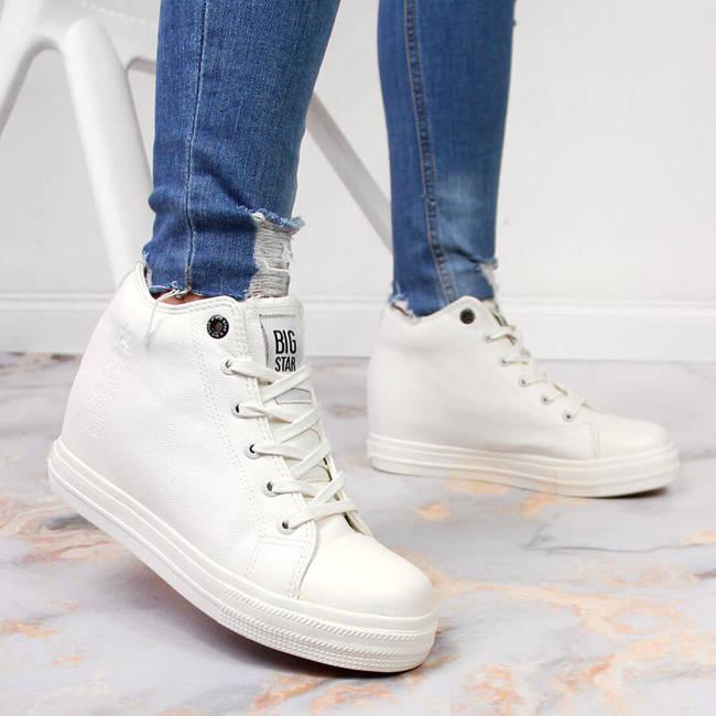 Sneakersy damskie na koturnie białe Big Star