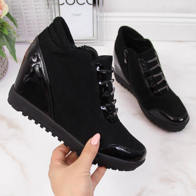 Sneakersy damskie na koturnie nieocieplane czarne Filippo