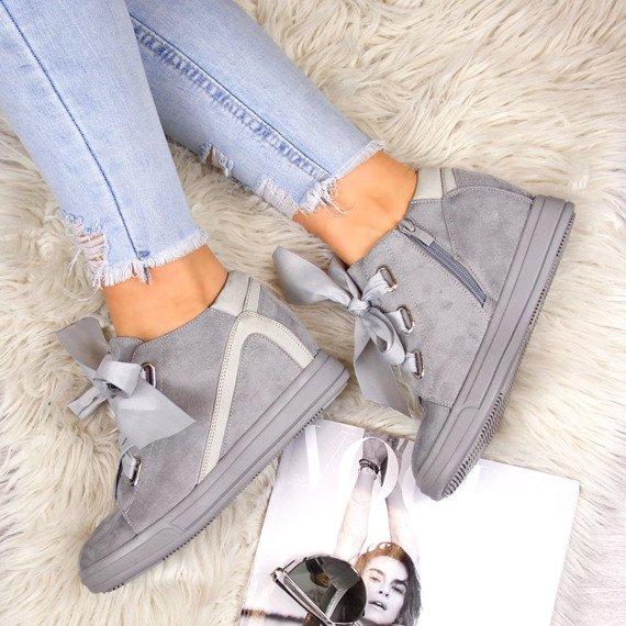 Sneakersy damskie na koturnie szare Jezzi