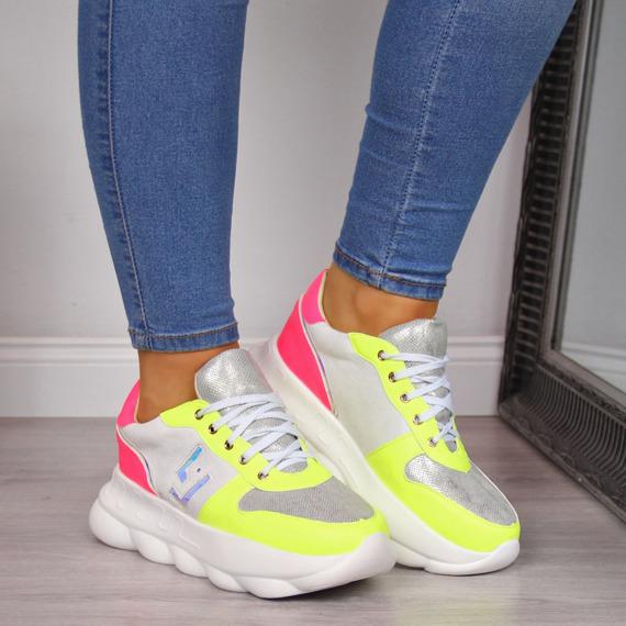 Sneakersy damskie na platformie białe Lu Boo