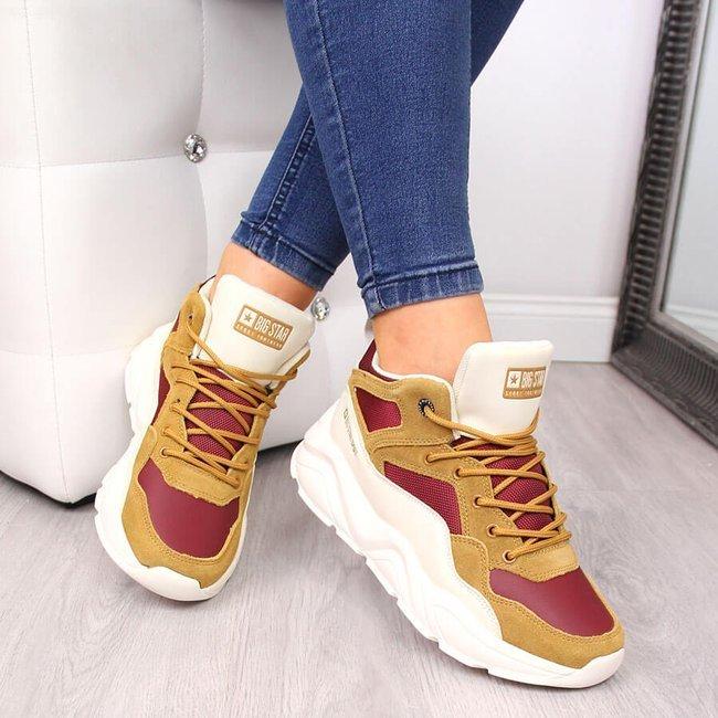 Sneakersy damskie na platformie camel Big Star GG274646
