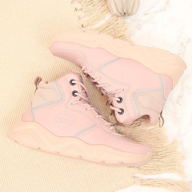 Sneakersy damskie na platformie różowe Big Star GG274640