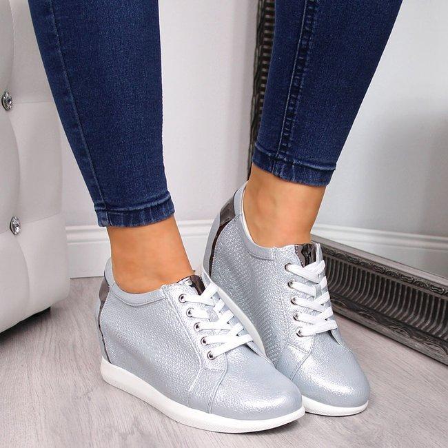 Sneakersy damskie z połyskiem błękitne Sergio Leone