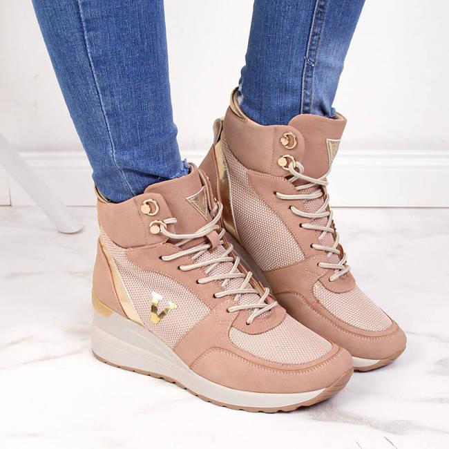 Sneakersy damskie za kostkę nieocieplane brudny róż Vinceza