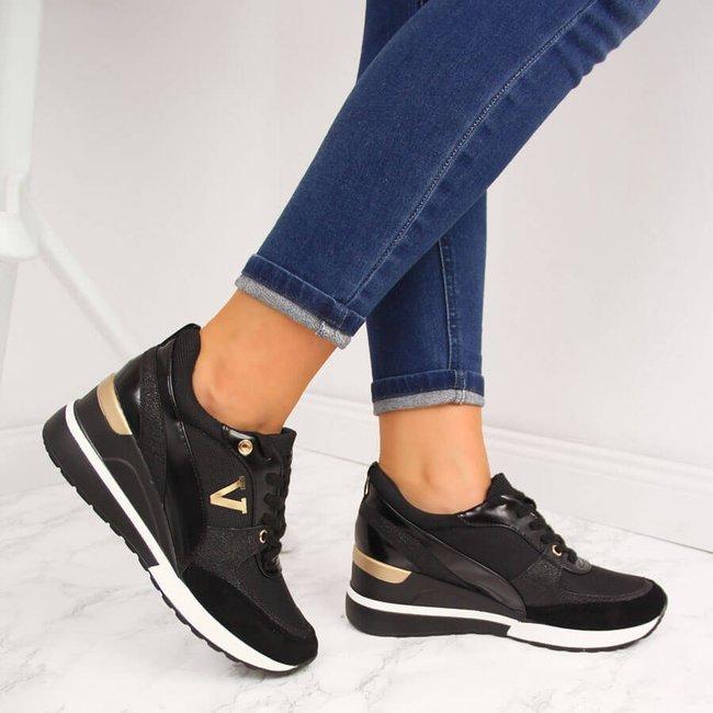 Sneakersy na koturnie czarne Potocki