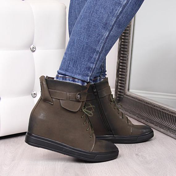 Sneakersy na krytym koturnie ocieplane khaki Jezi
