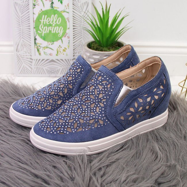 Sneakersy półbuty na koturnie ażurowe niebieskie Jezzi