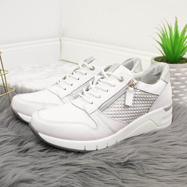 Sneakersy skórzane damskie na koturnie białe Filippo