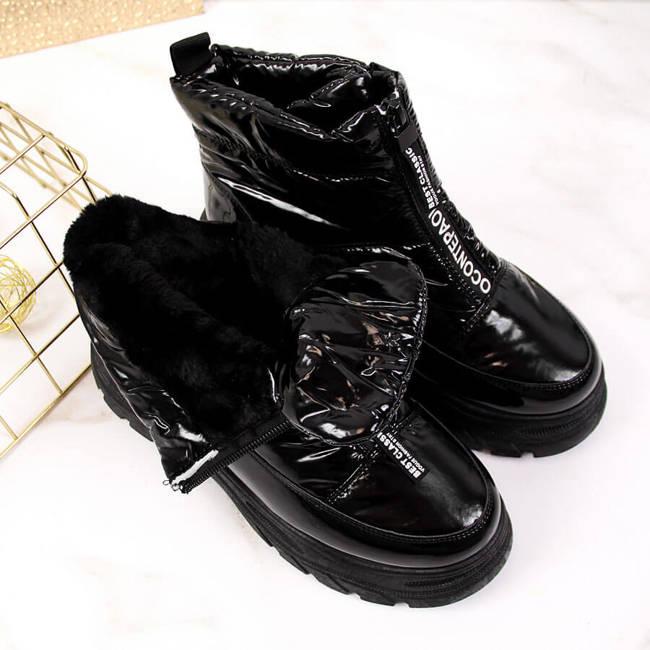 Śniegowce damskie na platformie czarne Vinceza