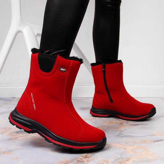 Śniegowce damskie ocieplane wodoodporne czerwone DK