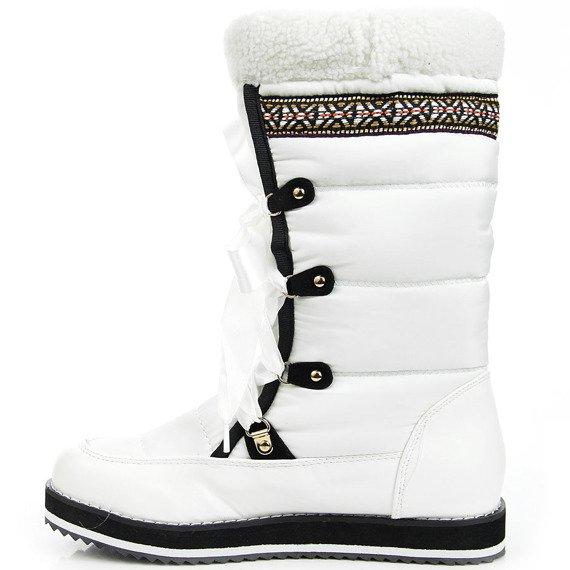 Śniegowce damskie z kokardką białe Vices