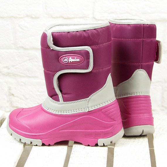 Śniegowce dziewczęce ocieplane kalosze różowe American Club
