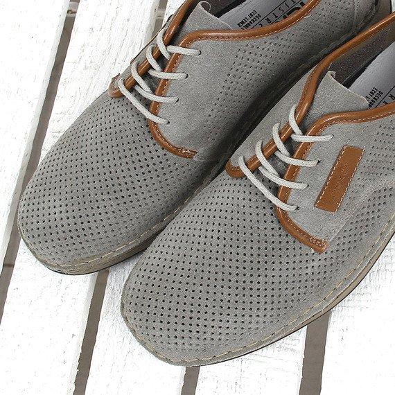 Szare półbuty męskie skórzane komfortowe Rieker 05206-42