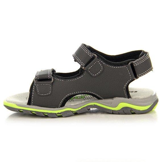 Szare sandały chłopięce na rzepy Hasby