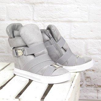 Szare sneakersy na koturnie gumy Lu Boo