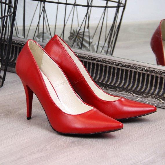 Szpilki damskie matowe czerwone Juma 2160