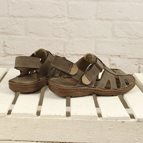 Taupe skórzane sandały męskie lekkie komfortowe Rafado