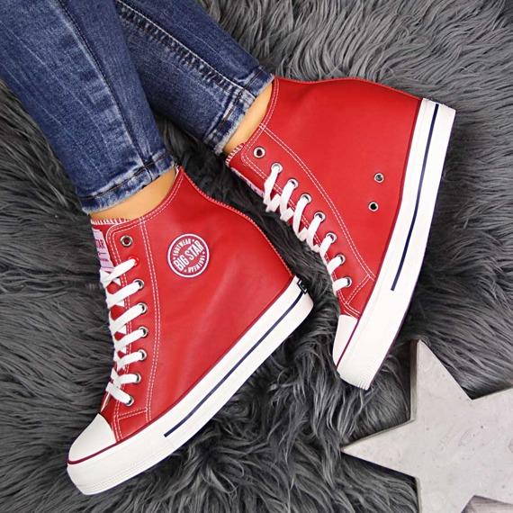 Trampki damskie na koturnie czerwone Big Star EE274614