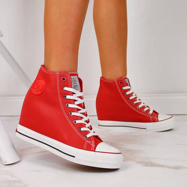 Trampki na koturnie czerwone Cross Jeans II2R4026C