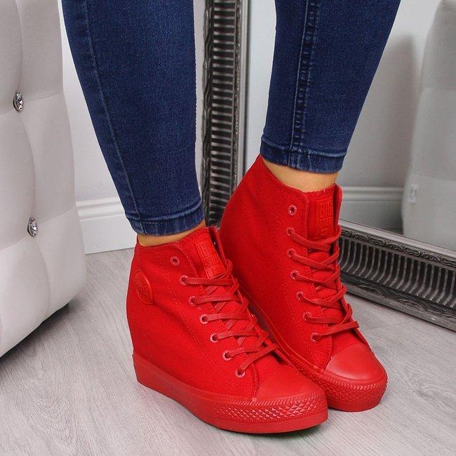 Trampki na koturnie sneakersy czerwone Big Star FF274A193