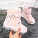 Śniegowce dziewczęce wodoodporne na rzepy różowe American Club